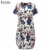 Hot Sale 2017 Summr ZANZEA Women Vintage Floral Print Dress Short Sleeve Loose Casual Midi Sexy Dress Vestidos Plus Size