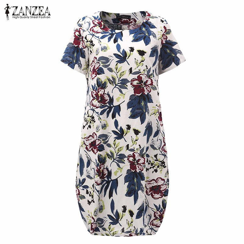 Hot Sale 2018 Summr ZANZEA Women Vintage Floral Print Dress Short Sleeve Loose Casual Midi Sexy Dress Vestidos Plus Size