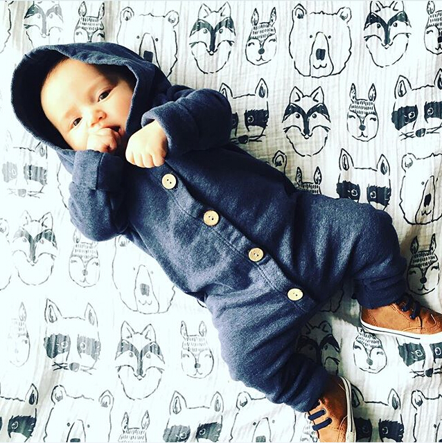 HTB1OEGCXIfrK1Rjy1Xdq6yemFXa1 Toddler Baby Clothes Hooded Long Sleeve Button Boy&Girl Kids Baby Rompers Cotton Jumpsuit New Born Baby Clothes Casual Outfit