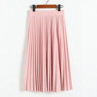2016 Spring All Match Chiffon Skirt Waist Fold Slim Skirt Pleated Skirt Department Summer Slim Skirt