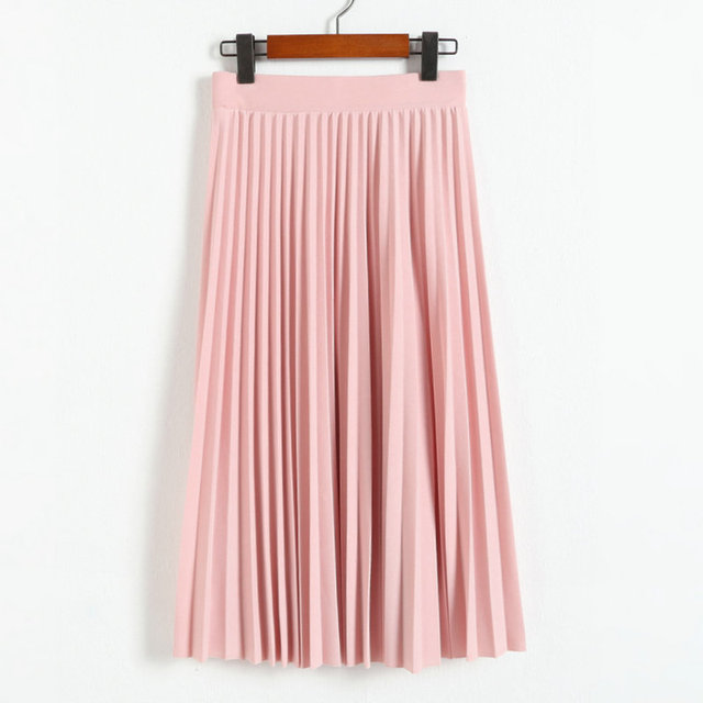2016 spring all-match chiffon skirt waist fold slim skirt pleated skirt Department summer slim skirt