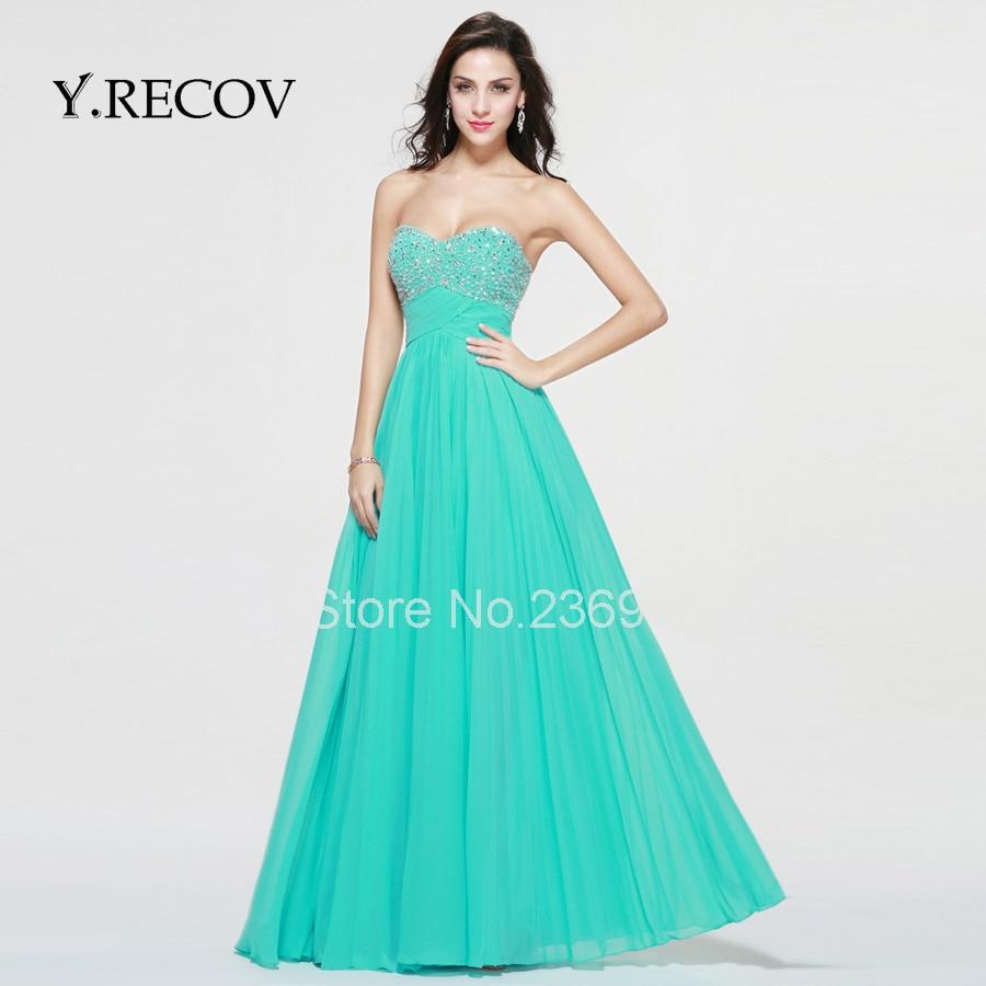 Winter Formal Gowns YD2346 A line Sweetheart Mint Long Beautiful ...