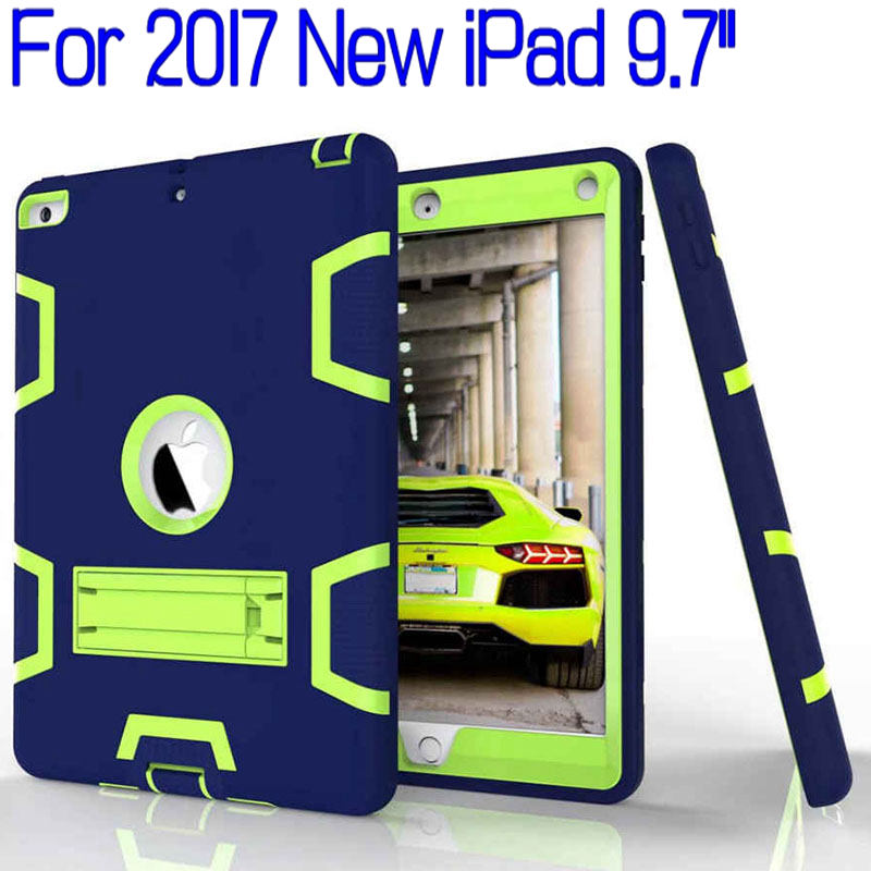 Hybrid Heavy Duty Silicone Drop-proof Full Cover for iPad 9.7 2017 2018 New Tablet Funda Case for Kids+Free Screen Protector+Pen