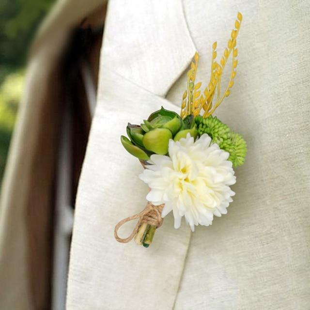 4pcs White Green Color Artificial Succulent Flower Bridal Groom Boutonniere Wedding Bride Guest Corsage