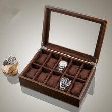 Top 10 Slots Caixa De Relógio De Madeira New Brown/Amarelo Assista Caixa De Armazenamento Com Janela Mostrador do Relógio dos homens de Luxo titular Caso presente C040