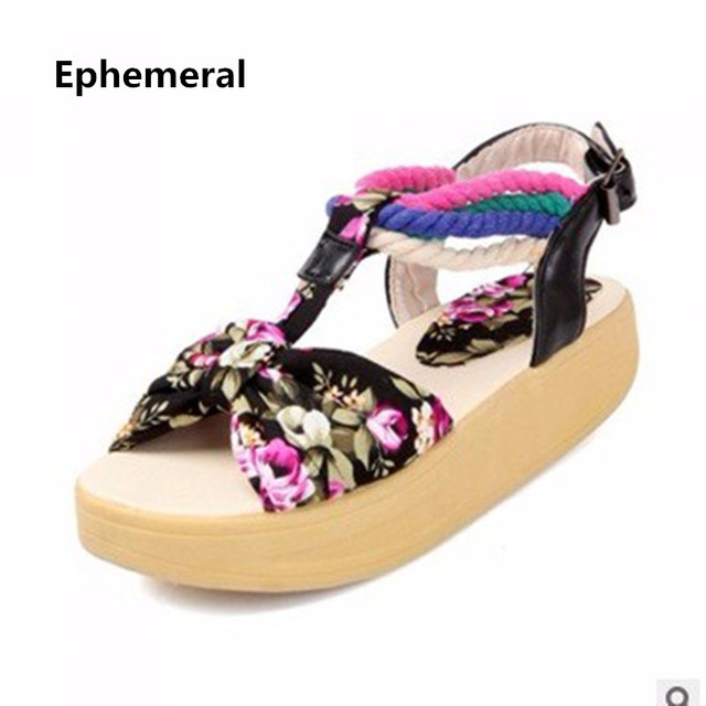 11b1c953444 Womens Floral Printing Ankle wrap Cloth Lesiure Round toe Buckle Flat Low  heel Balance Sandals big size 41 42 Lady Beach Shoes