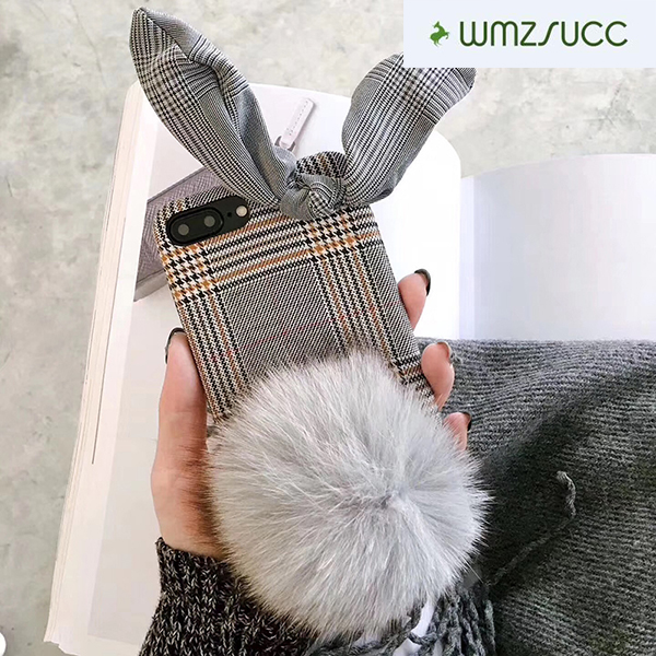 WMZSUCC Checks Cloth Rabbit Ear with Plush Ball Pattern For iPhone 8 /6s 6plus 7 plus for iphone X Soft Cases Back Cover Skin