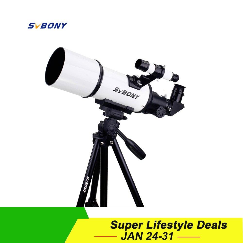 SVBONY SV20 télescope réfracteur 80mm Entièrement Enduit Verre Optique 54 En Alliage D'aluminium Photographique Trépied w/Téléphone Portable adaptateur de montage