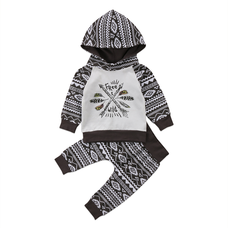 New Casual Kid Baby Toddler Boy Clothes Long Sleeve Hooded T-shirt Tops Pants Legging Outfit 0-24M