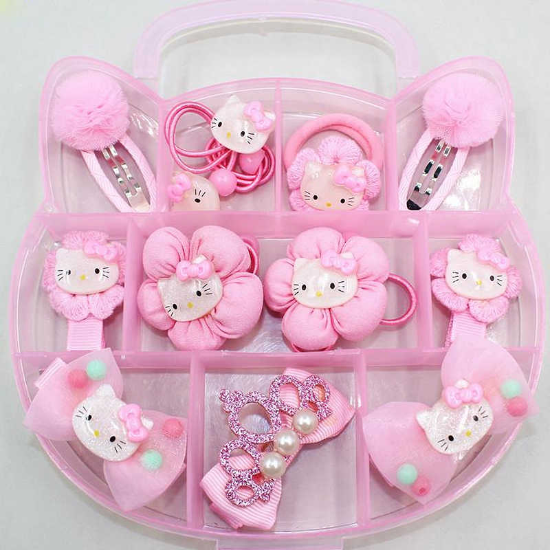 FANRAR Lovely Cartoon Pink Kids jewelry Set Cat ears Flower Hair accessories Baby Bowknot Girl Birthday Party Gifts