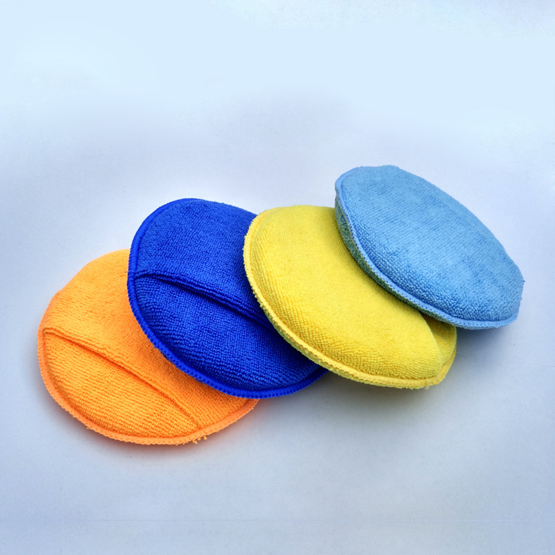 3PSC Microfiber Hand Round Finger Pocket Wax Sponge Auto Accessories Polishing Pad Apply Cleansing Car care wax applicator