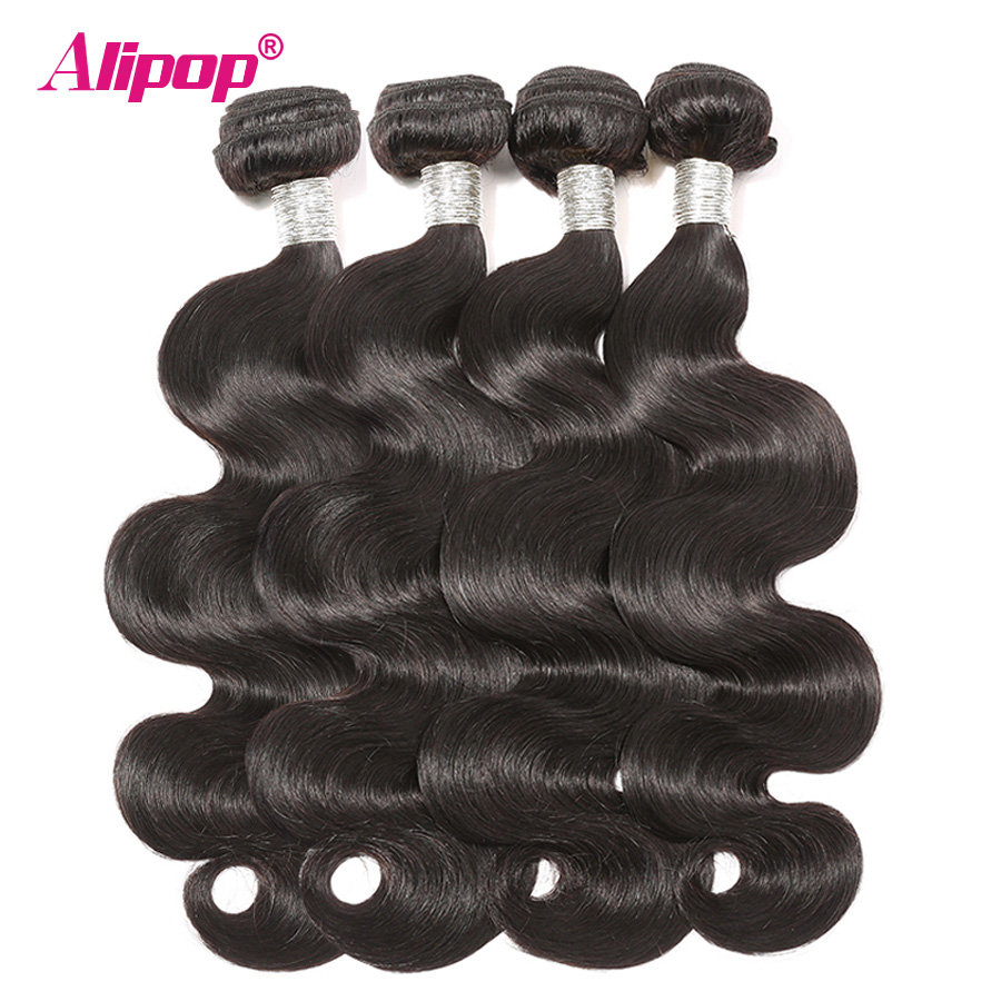 Body Wave Bundles Remy Peruvian Hair Bundles Deals 100% Human Hair Bundles 8-28 inches Hair Extensions Weave Alipop kan farves