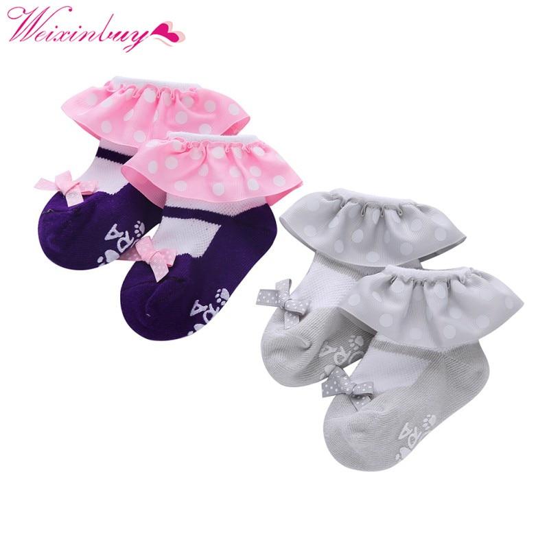 Sweet Baby Girls Newborn Cotton Baby Socks Kid Ruffled Chaussette Bebe Knitted Short Lace Socks 2 Colors