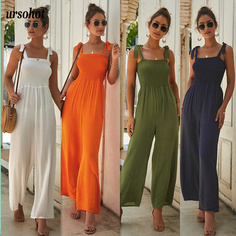 Ursohot Boho Long Wide Leg Strap   Jumpsuit   Bow Tie Pleated Elastic Sleeveless Romper Women Square Neck High Waist Chiffon Overall