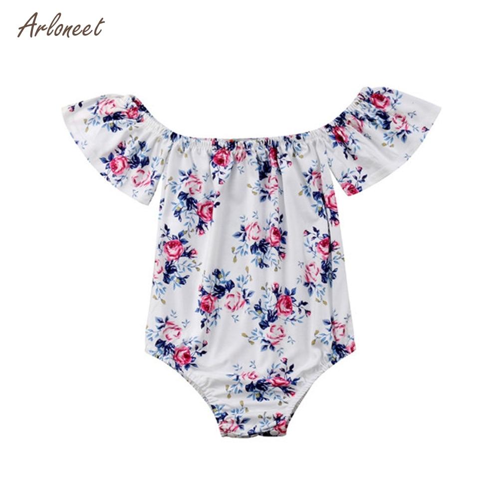 US Newborn Infant Baby Girl Floral Clothes Off Shoulder Romper Jumpsuit Outfits
