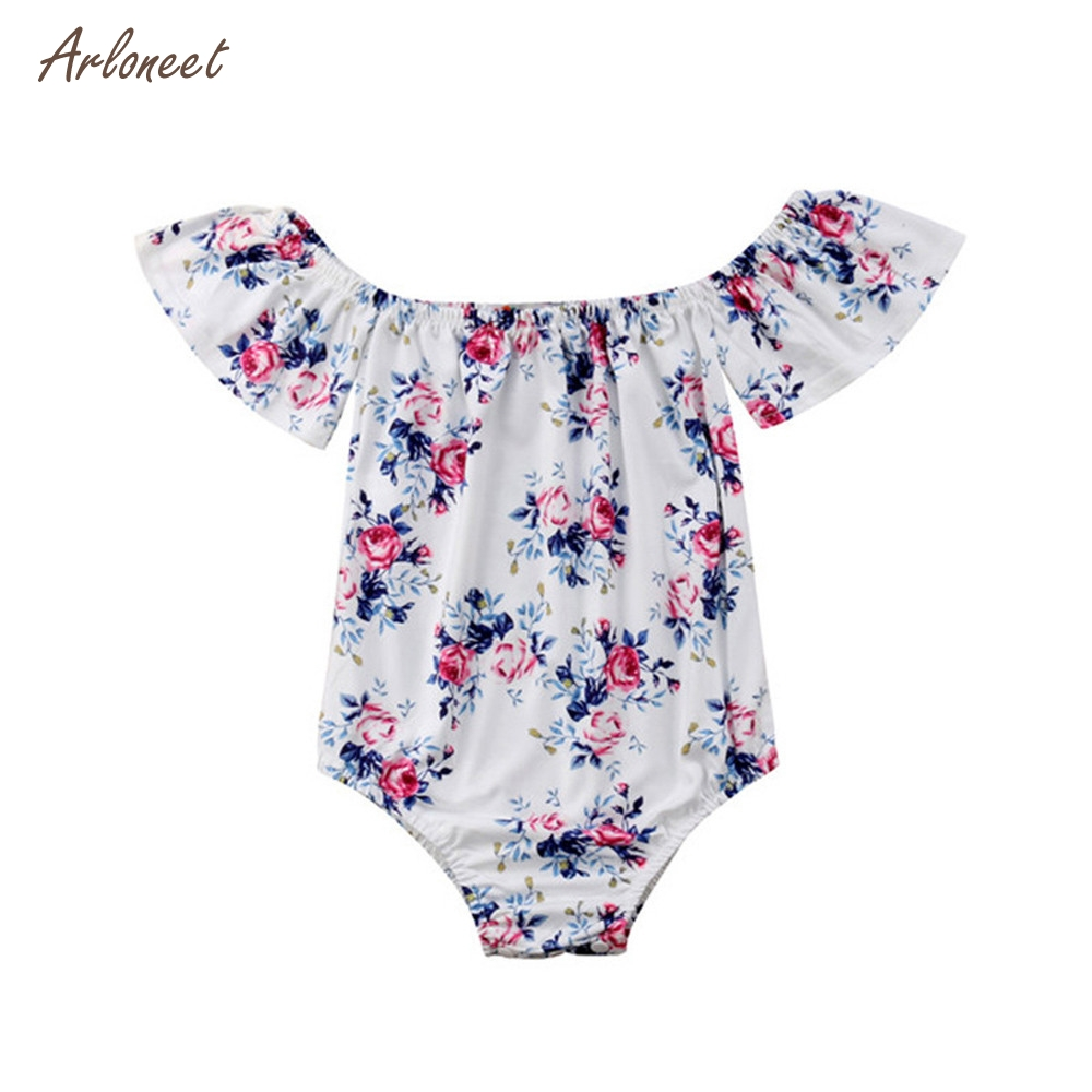 ARLONEET Newborn Infant Baby Girls Off Shoulder Floral Printed Outfits Romper Jumpsuit G5
