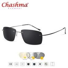 Verão transição óculos de sol de titânio marca designer ultraleve masculino luz sem moldura aviação fotochromismo óculos de sol quadros