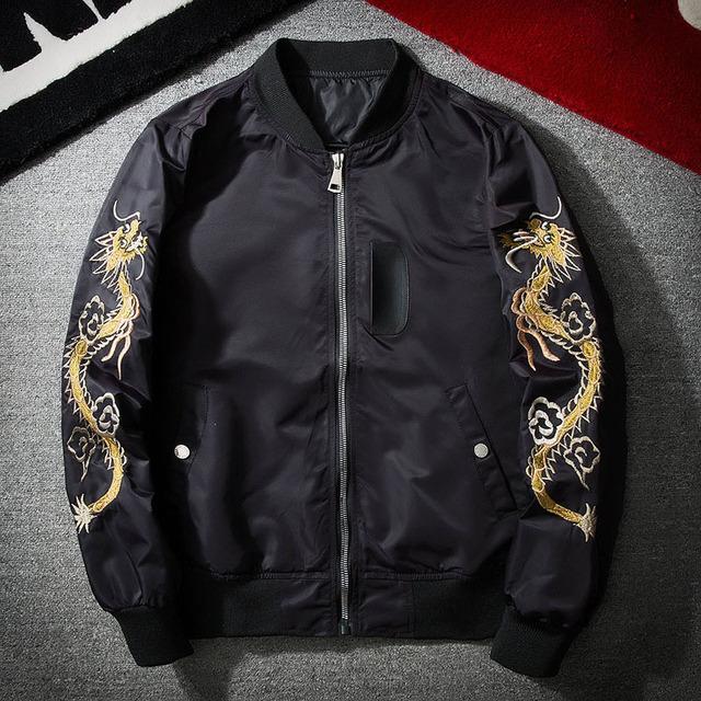 Anglebee Dragon Eagle Embroidery Men's Bomber Jacket