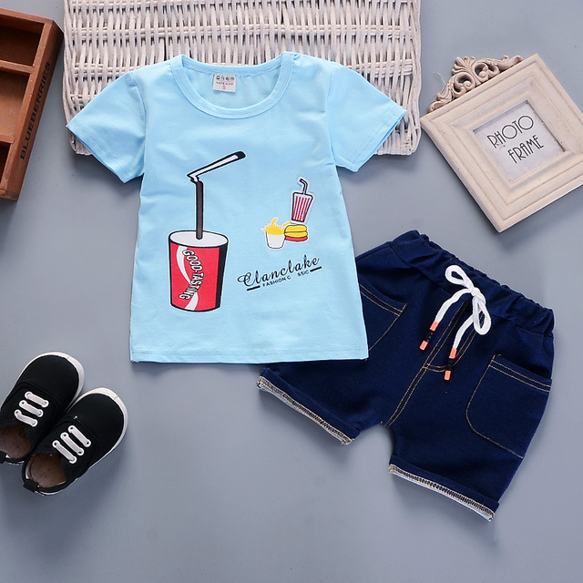 Newborn sky t-shirt and blue short for baby boy