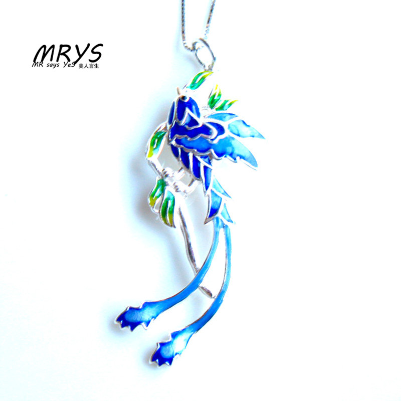 New Blue Phoenix Ethnic Cloisonne Enamel 925 sterling Silver Chain Necklace Pendant For Women Girl Chistmas Gift Fashion Jewelry
