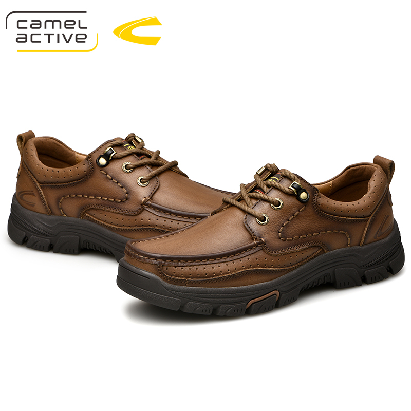 Camel Active New Mens Genuine Leather Oxfords Spring Autumn Waterproof Moccasins Lace-Up Men Casual Shoes Outdoors Man Shoes hot sale casual shoes men spring autumn waterproof solid lace up man fashion flat with pu leather outdoors shoe