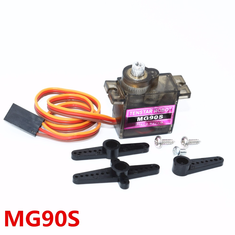 50pcs MG90S Metal gear Digital 9g Servo For Rc Helicopter plane boat car MG90 9G