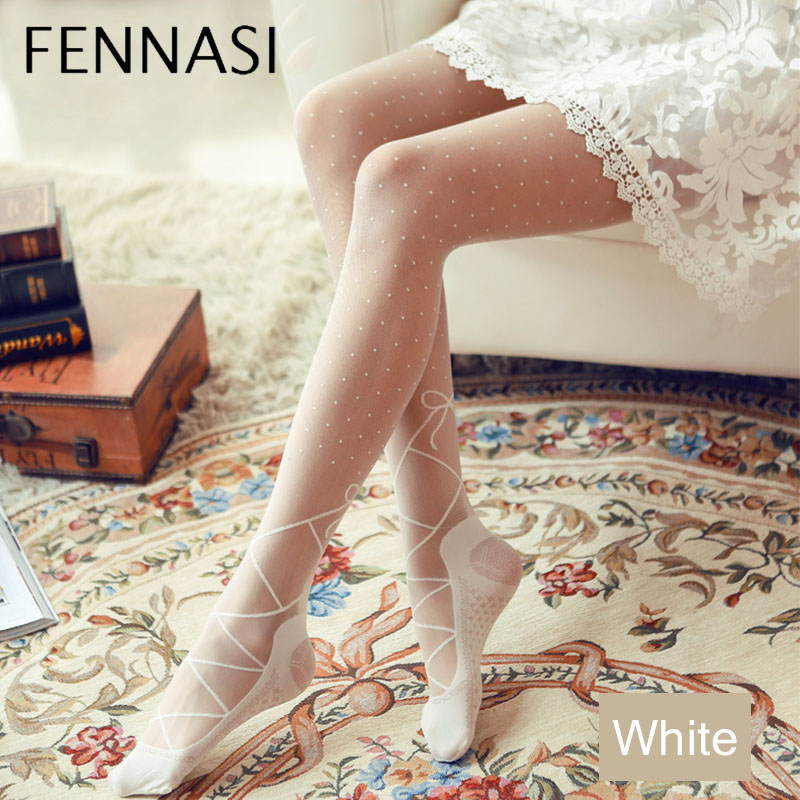 FENNASI Thin Women White Classic Small Polka Dot Tights Female Vintage Faux Tattoo Nylon Stokcings Pantyhose Dancing and Ballet