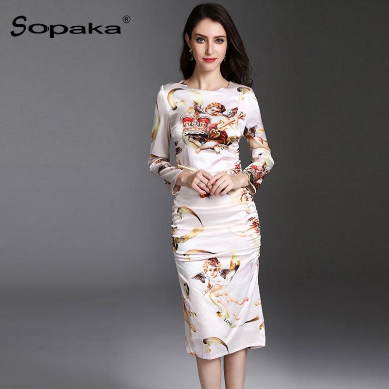 2018 Spring High Quality Design Midi Women Dress White Floral Character Print Casual Slim Sheath Women Dresses