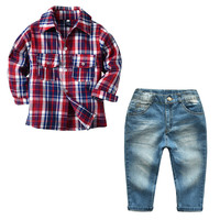 Baby Boy Clothes Sets Spring Fall Long Sleeves Plaid Shirt Blouse Blue Jeans Two Pieces Kid