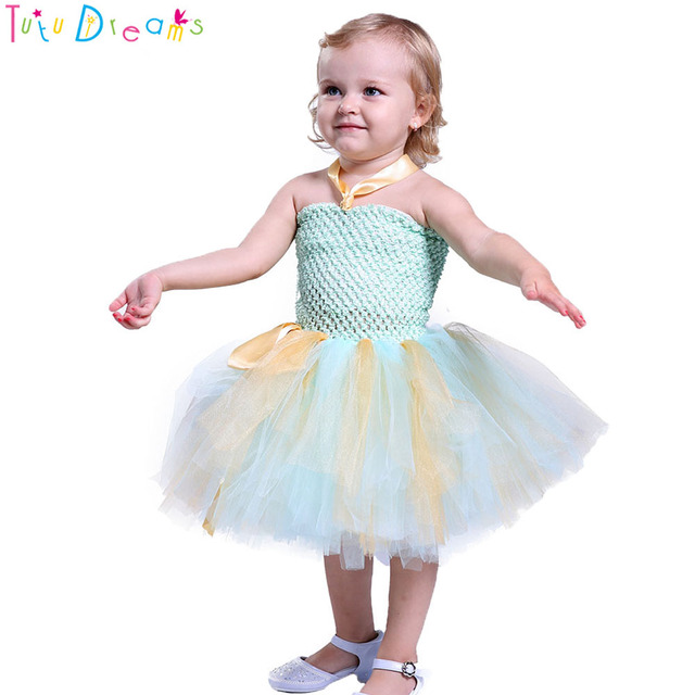 a6b25ffc78 Princess Girl Mint Gold Birthday Party Tulle Tutu Dress Kids Knee Length  Fluffy Ball Gown Photo Props Tulle Tutu Dresses 1-8 Y