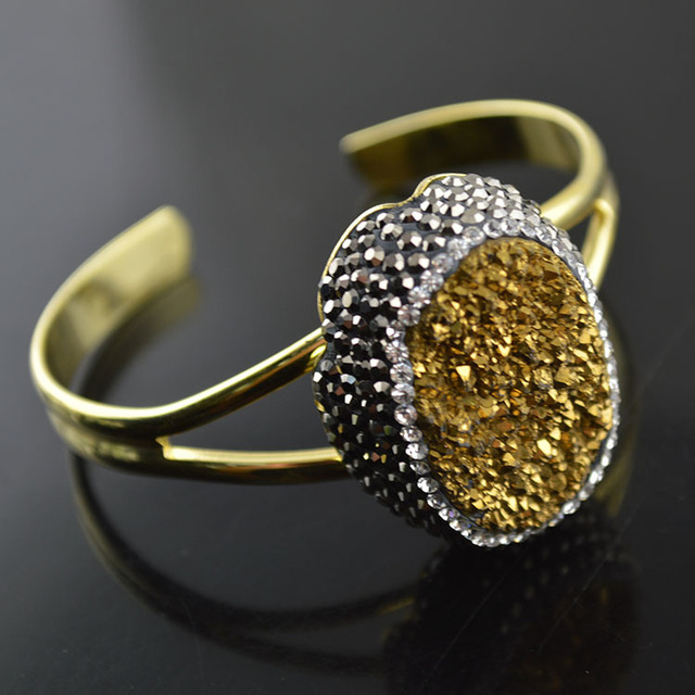 Gold Druzy Agate Cuff Bangles Adjustable Copper Arm Bracelets For Men and Women Fashion Jewelry Birthday Gift