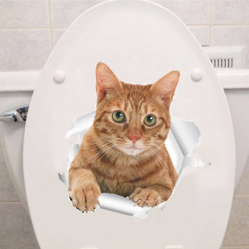 Vinyl Cat 3D Toilet Wall Sticker Hole View Bathroom Living Room Home Decor Decals Poster Background Waterproof Animal Stickers