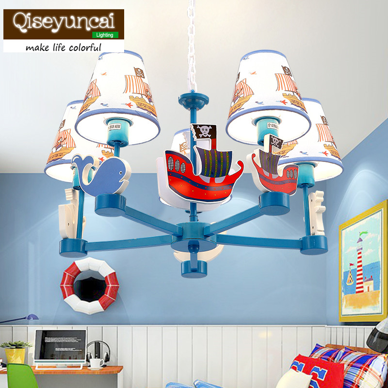 Qiseyuncai Nordic children's room cartoon boat chandelier boy girl bedroom children's room creative warm romantic lamp|Pendant Lights| |  -