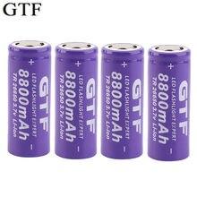 Bateria recarregável do li-íon da bateria 3.7 mah de gtf 26650 v 8800 para a bateria recarregável do acumulador da bateria do li-íon da tocha da lanterna do diodo emissor de luz
