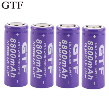 GTF 3.7V 26650 Battery 8800mAh Li-ion Rechargeable Battery For LED Flashlight Torch Li-ion Battery accumulator battery 12pcs 14500 900mah 3 7v li ion rechargeable batteries aa battery lithium li ion cell for led flashlight headlamps torch mouse