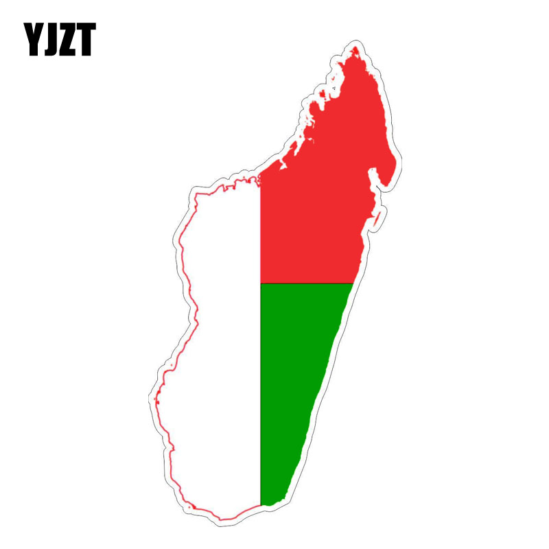 YJZT 7.7CM*15.2CM Personality Madagascar Map Decal Motorcycle Flag Car Sticker 6-1235