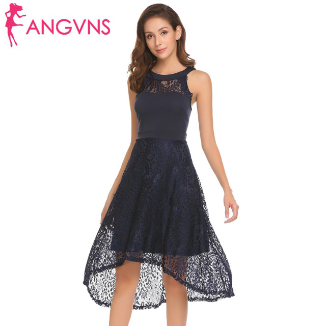853060faad9 ANGVNS Women Sleeveless Lace Patchwork A-Line Dress 2018 New Party High  Waist Swing Dresses Wedding Spring Summer Vestidos Robe