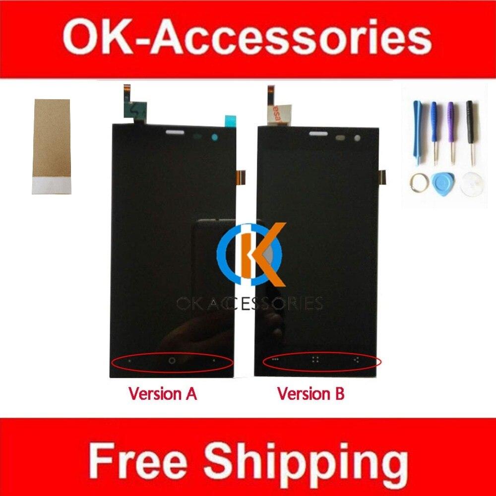 Per Highscreen Zera S (rev. S) Display LCD + Touch Screen Digitizer Assembly Colore Nero Con Gli Strumenti & Adhseive Nastro 1 Pz/lotto