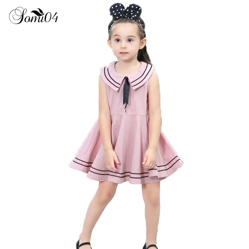 2018 New Girl Naval Style Solid Cotton Dress Bow Tie Striped Children Clothes Little Girls Sleeveless Dresses for Kids 1-8 Years