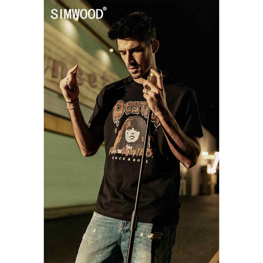 Simwood 2020 Musim Panas Baru Hip Hop Fashion T Shirt Pria Streetwear Rock And Roll Cetak Tshirt 100% Kaos Katun Top 190303