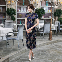 Chinese Traditional Cheongsam Women S Silk Satin Dragon Phoenix Dress Long Ball Gown Size S To