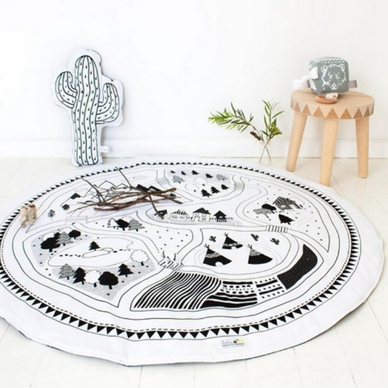 2017 new sty 90cm Crawling Blanket Cotton Home Padded Play Mat Round Racing Games Carpet Play Rug Kids Room Decoration