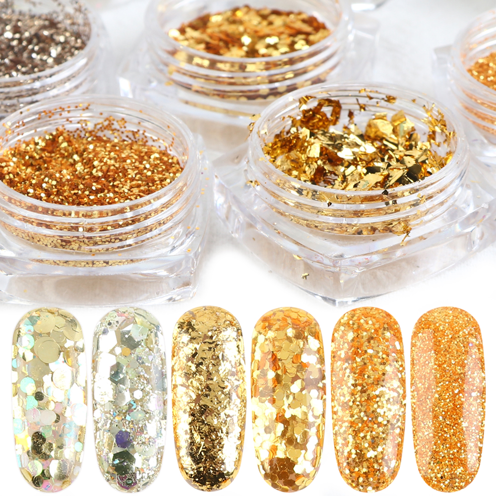 8 Bottle Irregular Shiny Nail Glitter Powder Gold AB Sequins Nail Art Decoration Mix Hexagon 3D Flakes Charm Foils Set TR1506-10