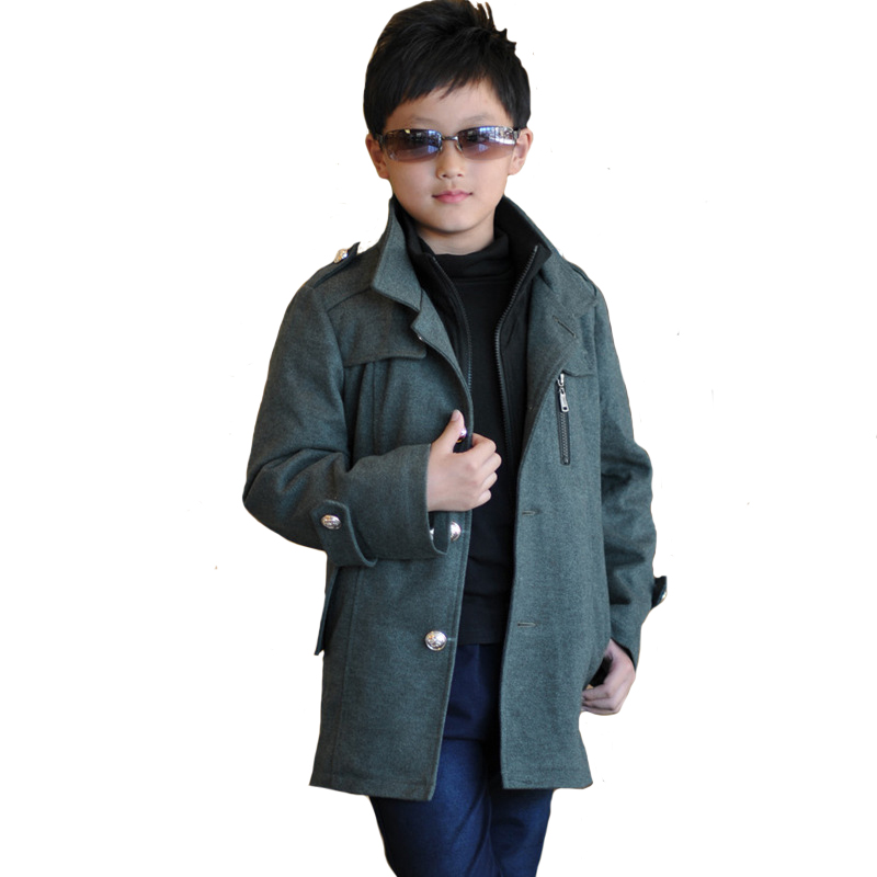 Boy Woolen Coat Winter Coat Plus Cotton Thickened Long Single Breasted England Style High Quality for 7y-14y single boy