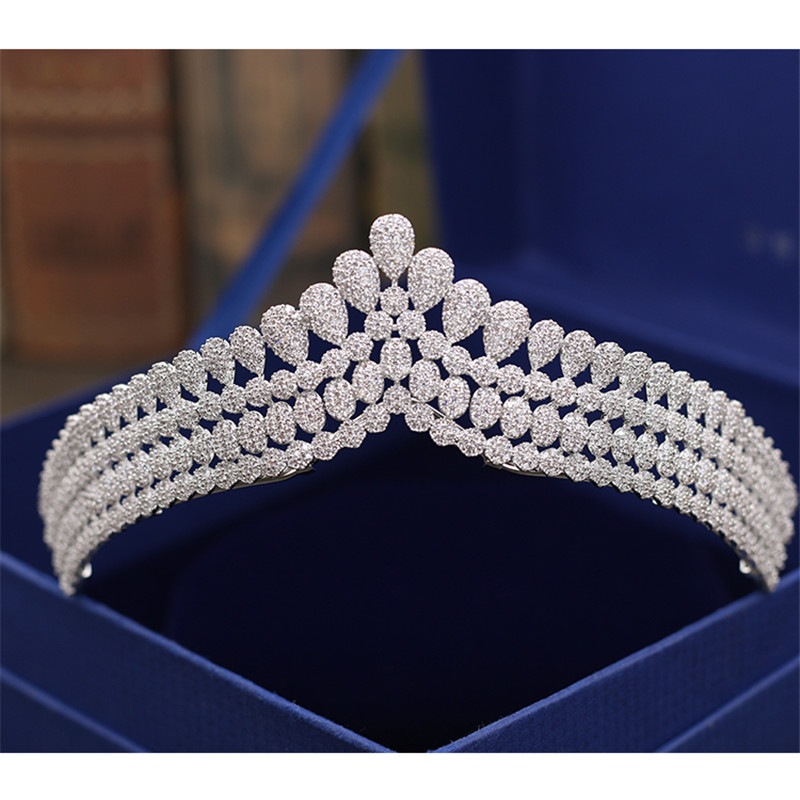 Bridal Wedding Tiaras and Crowns Sliver Color Hair Crown Full Cubic Zirconia Crown for Women 2018 New Hair Accessories Jewelry high quality bridal tiaras and crowns full cubic zirconia gold color wedding hair crown for women hair jewelry accessories