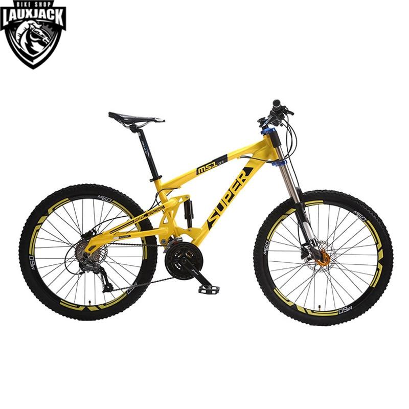 SUPER Горный велосипед двухподвесной алюминиевая рама 24/27 скорости гидравлический/механические дисковые тормоза 26 колеса