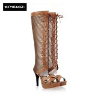 New Arrival Women High Heel Shoes Comfortable Hollow Breathable Knee High Boots For Women Sexy Pumps