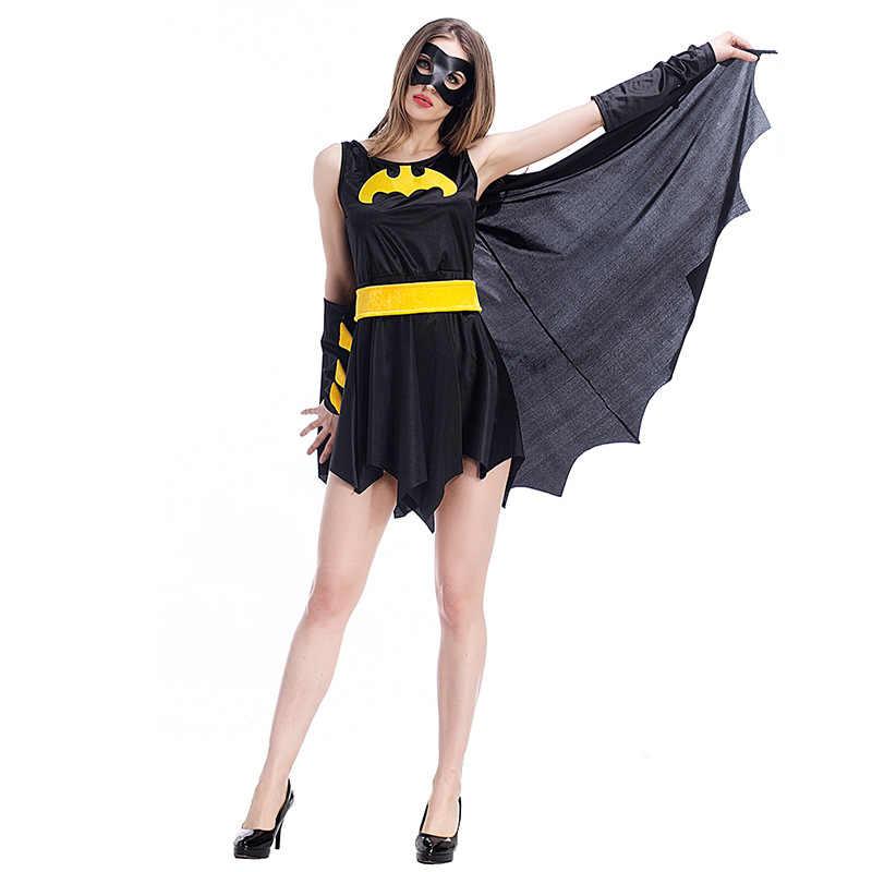 2020 セクシーなバットドレス衣装バットマンスパイダーマンダークナイトハロウィン女性大人悪魔魔女ヴァンパイアコスチュームセット
