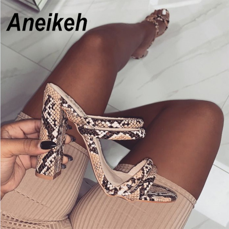 Aneikeh 2019 Summer New Women's Slippers Sexy Fashion Snake Strips With Fish Mouth Open Toe High Heel Slippers Size 35-40