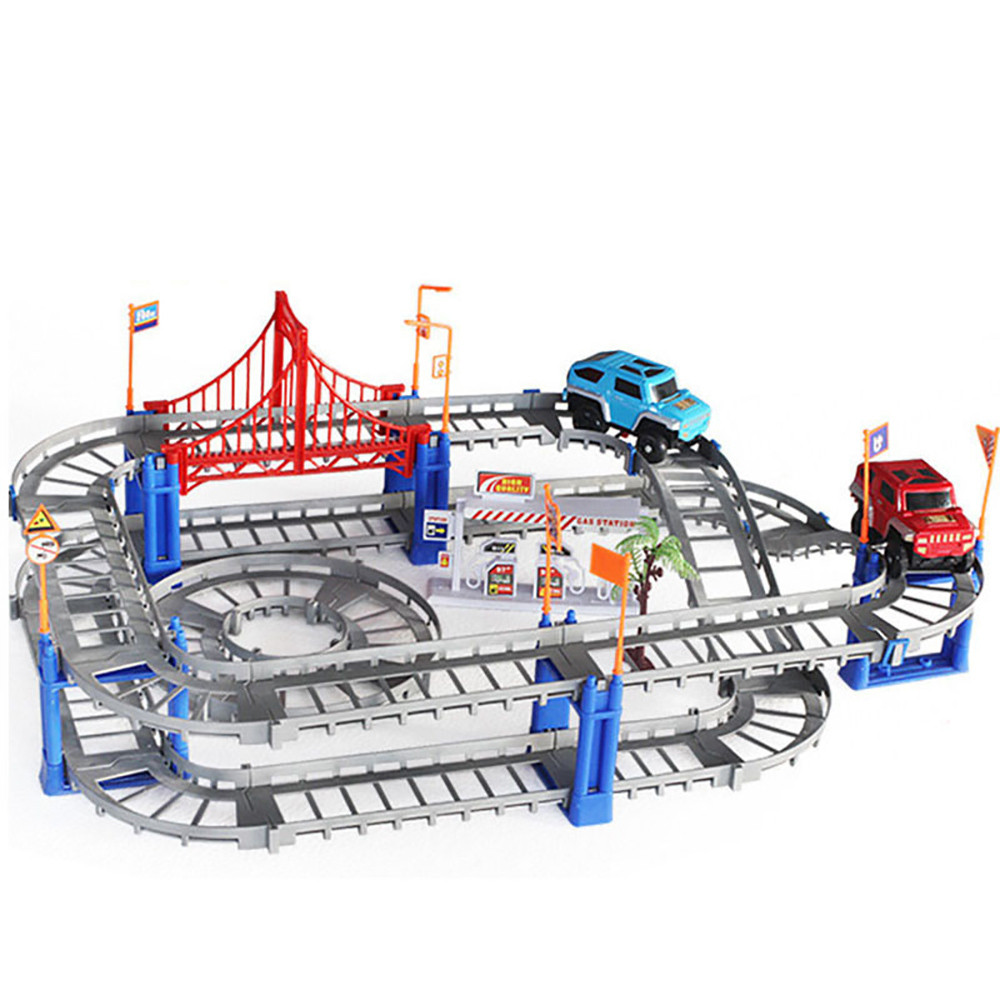 2017 New Glow Racing Track Set 73pcs Block Set Race Track with Car Variety Of Toughness Racing Tracks Electric Car Toy Kid Gifts